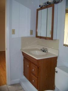 The bathroom vanity before