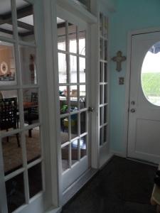 The inside back door is white.