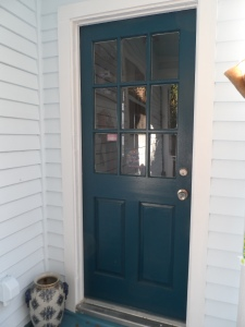 One of the back doors is blue-green.