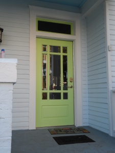 The front door is pale green.