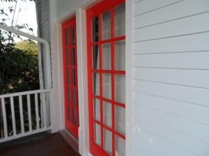 The back upstairs balcony door is Cayenne.
