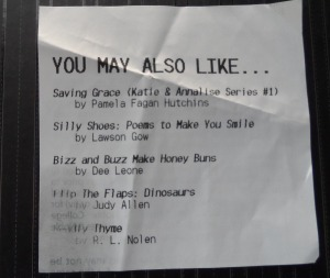 This is the end of the receipt from a Barnes & Noble in Pasadena. Do you see Deadly Thyme down at the bottom? Whoo! Hoo!